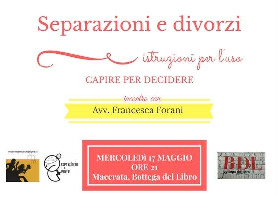 Separazioni e divorzi, incontro con avvocato Francesca Forani Macerata